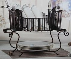 Mesa Delaware Stackable 2 Piece Wrought Iron steel with antiqued black finish Buffet Caddy. For product & price info go to:  https://all4hiking.com/products/mesa-delaware-stackable-2-piece-wrought-iron-steel-with-antiqued-black-finish-buffet-caddy/