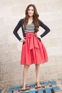 navy stripes, navy cardigan, coral full skirt