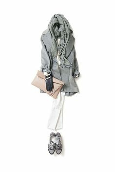 Classy casual. Could I sub black for the gray? White skinny jeans, black velvet pea coat, black scarf, black sneakers. Contrasting clutch bag