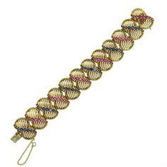 1960s Large Sapphire Ruby 14k Gold Bracelet