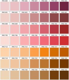 Pantone ® Matching System Color Chart PMS Colors Used For Printing Use this guide to assist your color selection and specification process. This chart is a reference guide only. Pantone colors on c… Pms Color Chart, Pantone Color Chart, Pms Colour, Color Charts, Hex Color Palette, Palette Art, Colour Schemes, Colors And Emotions, Colour Board