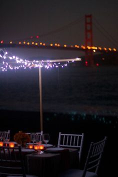 A dinner party under twinkle lights, on the beach and looking out at the Golden Gate Bridge? Oh, and with risotto?  Sign me up.