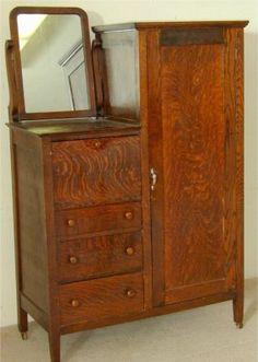 5060 Oak Chifferobe W Mirror 43 L X 20 63