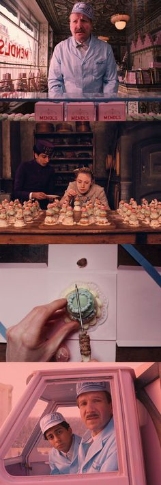 The pastel colors of Mendl's in The Grand Budapest Hotel, directed by Wes Anderson.: