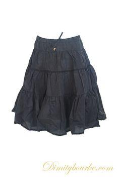 Girls relaxed fitting stylish designer gypsy skirt in beautifully soft black cotton silk