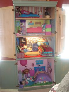 Altered Armoire for America Girl Dolls American Girl House, American Girl Crafts, American Girl Dollhouse, American Girl Storage, American Dolls, Ag Doll House, Barbie House, Doll Houses, Crafts For Girls