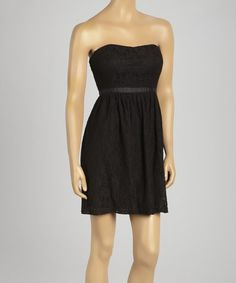 Look what I found on #zulily! Black Lace Fit & Flare Strapless Dress by Red Clover #zulilyfinds