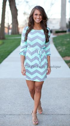 The Pink Lily Boutique - Bring It On Mint and Grey Tie Dress, $40.00 (http://thepinklilyboutique.com/bring-it-on-mint-and-grey-tie-dress/)