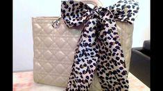 Three ways to tie a scarf on a handbag.  So easy and fun