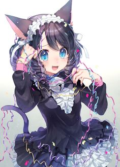 Kawaii neko girl....blue eyes...black hair...neko ears...tail...dress...bell...beautiful...cute