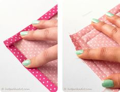 Sewing napkins.  Perfect corners.