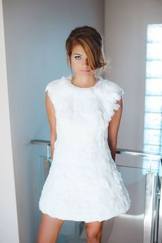 Ewelina, white feather dress. Like an angel :)