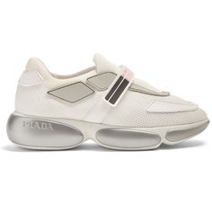 Prada Cloudbust low-top mesh trainers ($690) ❤ liked on Polyvore featuring shoes, sneakers, pink white, prada sneakers, striped sneakers, retro shoes, velcro shoes and prada trainers