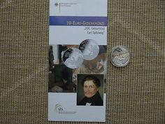 10 Euro Silber Gedenkmünze 2008 Spiegelglanz PP 200. Geburtstag Carl Spitzweg
