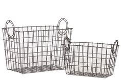 Woodland Imports BRU-721272 Attractive Rectangular Shape Wire Meshed Basket w/ Circular Side Handles Set of Two