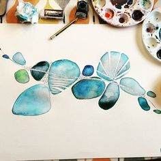 Oooo nearly finished another painting in my pebble series! It's cold outside but it's cosy & messy in here 💙 Watercolor Flowers Tutorial, Watercolor Circles, Abstract Watercolor Art, Watercolor Journal, Watercolor Tips, Watercolor Texture, Flower Tutorial, Watercolor Paintings, Watercolors