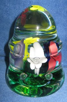 North American Joe St.clair Blown Glass Multi-colored Flowers With Floating Bubbles Paperweight Pottery & Glass