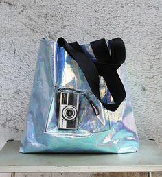 Oversized Hologram Vinyl Tote Bag on Etsy, $50.00