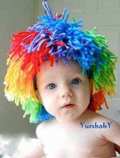 Baby Clown Wig Halloween Costume Rainbow Color by YumbabY on Etsy, $24.95