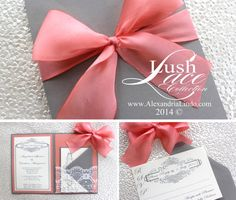 Grey Coral Lace Wedding Invitation by AlexandriaLindo on Etsy, $5.75 #weddinginvitation #peach #invitation