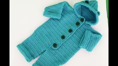 Crochet baby coat very easy Baby Sweater Knitting Pattern, Baby Knitting Patterns, Baby Patterns, Clothes Patterns, Romper Pattern, Jumpsuit Pattern, Crochet Converse, Baby Coat, Crochet Baby Clothes