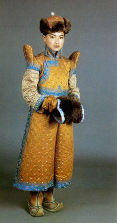 Winter clothes of a Khalka woman.    National Museum of Mongolia, Ulan Bator