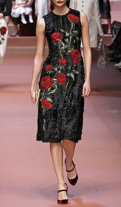 Sleeveless Lamb Fur Dress With Rose Applique by DOLCE & GABBANA Now Available on Moda Operandi