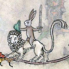 Lion rider, Summer volume of the Breviary of Renaud de Bar, Metz ca. 1302-1305 (Verdun, BM, ms. 107, fol. 89r)