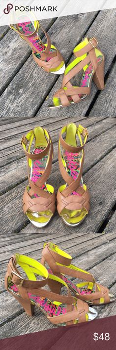 "Betsey Johnson Heels Light brown faux leather strappy heels with gold buckle by Betsey Johnson. Size 9.5. 4"" Heel. Betsey Johnson Shoes Heels"