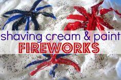 Shaving Cream and Paint/Glitter - Fourth of July Sensory Activity