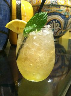 Mocktail recipe: GINGER SPLASH      Fresh Mint      ½ oz Almond Syrup      1 oz Pineapple Juice,      ½ oz Lime      Top with Ginger Brew      Crushed Ice      Stemless Wine Glass