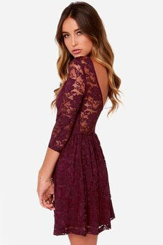 """Lulus Exclusive! Just like your favorite radio tune, you'll sing along to the sweet style of the Our Song Burgundy Lace Dress! Sheer burgundy lace falls from a rounded neck into 3/4 length sleeves, creating an alluring scoop accent at back, while the knit-lined bodice creates a darling sweetheart silhouette at front. A fitted elasticized waist makes way for the full skater skirt below. Front of bodice and skirt are lined in burgundy stretch knit. Model is 5'8"""" and wearing a size small. 90%…"""