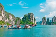 Ha Long Bay Floating Villages, Vietnam - the inhabitants of the Ha Long Bay fishing villages live on the water in floating houses. They make a living off the sea as well, with most people working as fishermen or shrimp farmers.