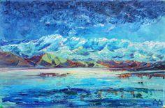 Купить Pangong Tso / Озеро Пангонг (Ладакх) - тёмно-синий, озеро, горы, ночь