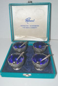 Raimond open salt cellars with spoons   silver by capecodgypsy, $85.00