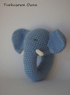 crochet, rattle, crochet rattle, pattern, grzechotka na szydełku, szydełko, turkusowa owca, słoń na szydełku, elephant crochet