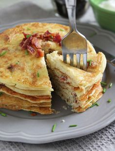 Savory Bacon and Potato Pancakes - (I'm trying to lay off the white potatoes, but I bet sweet potatoes would work well.)