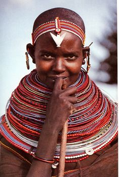Samburu woman Kenya, Africa , wearing a nubility necklace stack, late 20th century. Photograph: Angela Fisher /// Nubility : the condition of being marriageable, especially in reference to a woman's age or physical development. Can also be seen as the social class of teenage girls who win status through their blossoming sexuality and an ability to attract older males.
