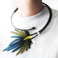 Multicolored Mesh Necklace - Art Jewelry- Popular Jewelry - Unique Design - Unusual Necklace - Rubber Jewelry