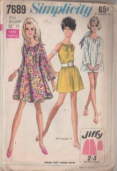 MOMSPatterns Vintage Sewing Patterns - Simplicity 7689 Vintage 60's Sewing Pattern ADORABLE Mod Jiffy Babydoll Flared Tent Dress, Drawstring Sundress, Beach Cover Up