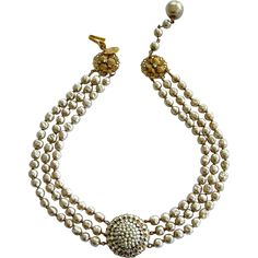 Haskell Baroque Pearl & Rhinestone Medallion Necklace