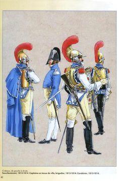 """Carabiniers: 2nd lieutenant, captain """"en tenue de ville"""", brigadier and trooper"""