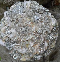 Classic pearl and rhinestone heirloom jewelry bouquet