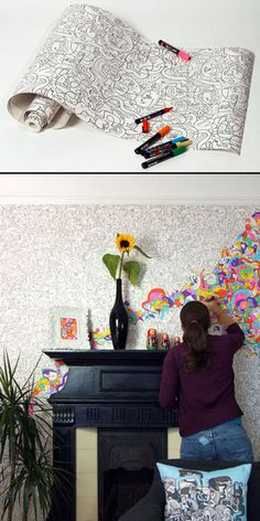 color your own wallpaper: super fun for a small room