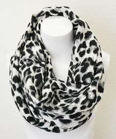 Take a look at this Black & White Leopard Infinity Scarf by Leto Collection on #zulily today!