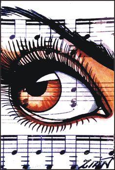 Brown Music Drawing  - Brown Music Fine Art Print