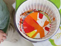 spin art using a salad spinner