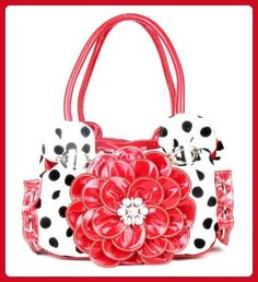 Polka Dot Red Flower Rhinestone Fashion Handbag - Top handle bags (*Amazon Partner-Link)
