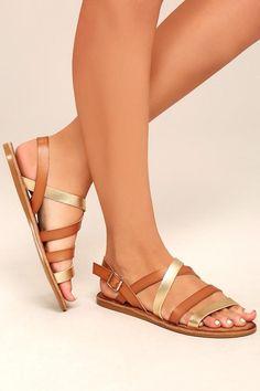 #Lulus - #Lulus Bamboo - Haddie Tan Metallic Gladiator Sandal Heels - Size 6 - Brown - Vegan Friendly - Lulus - AdoreWe.com