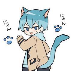 Anime Neko, Kawaii Anime, Anime Manga, Manga Cute, Cute Anime Guys, Blue Anime, Anime Poses Reference, Drawing Skills, Cute Images